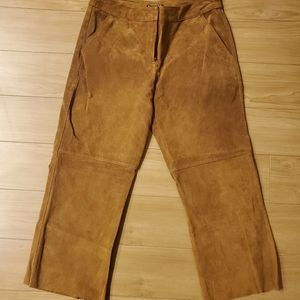 Express Suede Camel Cropped Pants